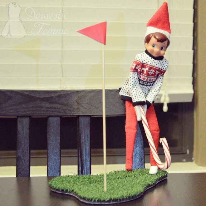 Elf on the Shelf playing golf