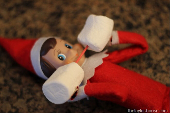 Gym Junkie Elf On The Shelf Lifting Weights
