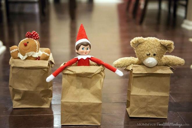 Elf on the Shelf sack race