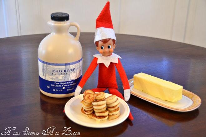 Elf on the Shelf eating tiny pancakes