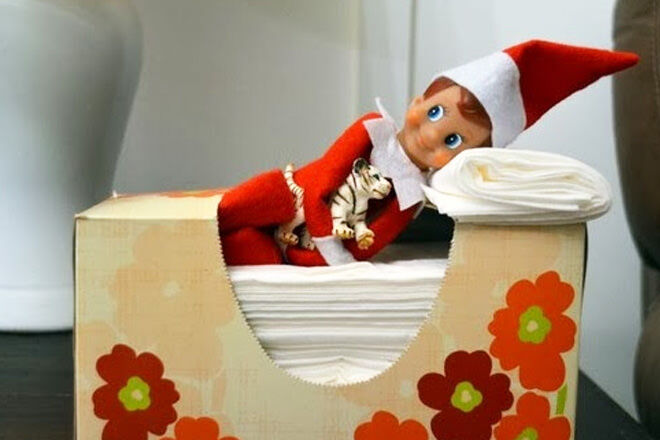Night night Elf on the Shelf! Check out his tissue box bed
