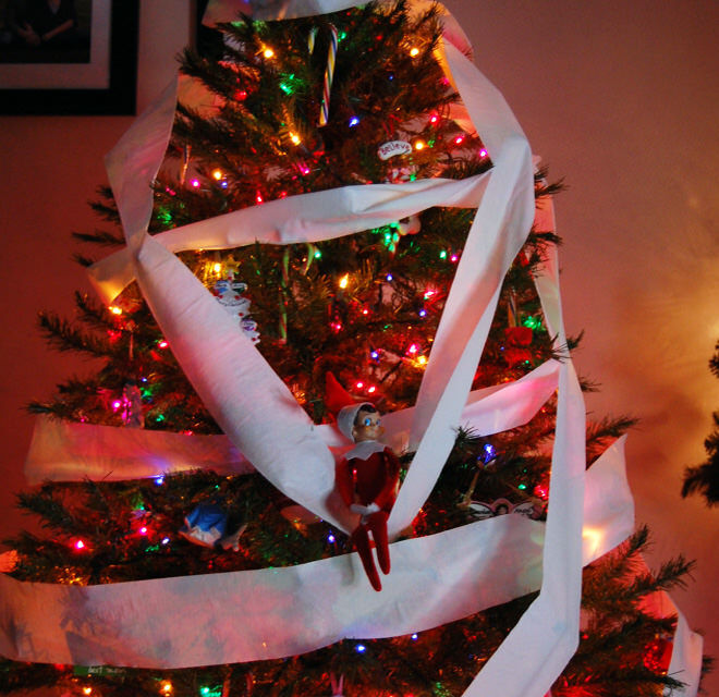 Elf on the Shelf wraps the Christmas tree in toilet paper
