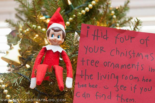 Elf on the Shelf playing treasure hunt