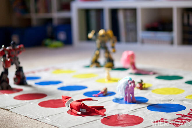 Elf on the Shelf playing Twister