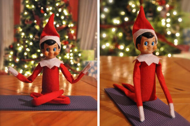 Elf on the Shelf does yoga