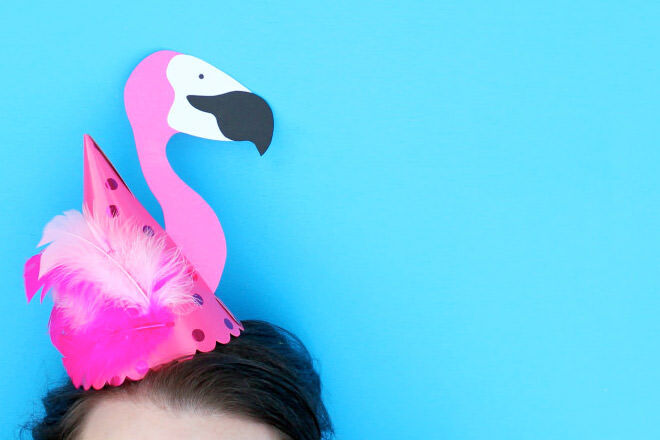 Easy DIY Flamingo Party hat for a Flamingo party