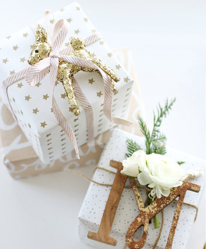 Easy gift wrap idea with an ornament