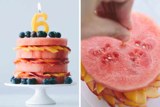 Healthy Birthday Cake Watermelon And Peach Fruit