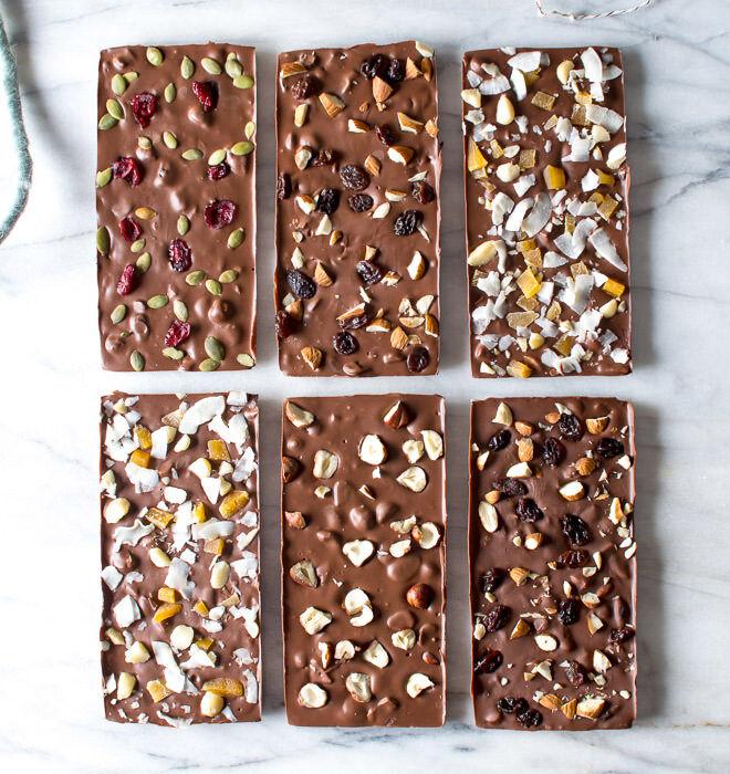 Homemade chocolate bars make a great edible gift