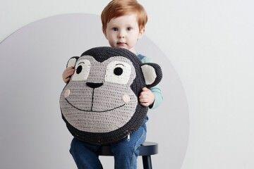 LaDeDah Monkey snuggle cushion