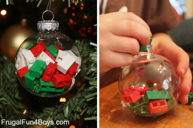 Use red, white and green LEGO bricks for your festive baubles!