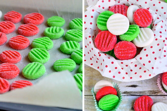 Peppermint patties inspired by the colours of Christmas