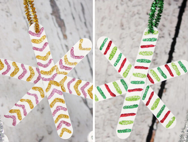 Easy DIY Popsicle Stick Snowflakes