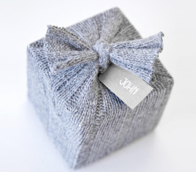 Recycled knit gift wrap
