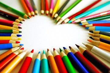 Colouring pencils in shape of heart