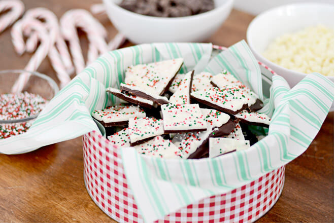 Easy DIY peppermint bark for end of year teacher gifts.