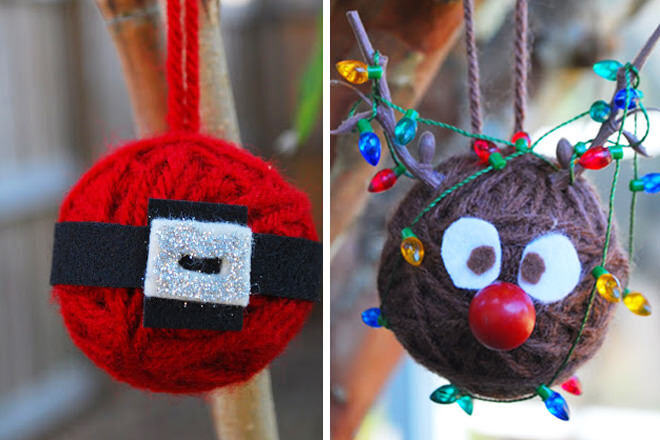 Use the wool to whip up these sweet Santa's belly and Rudolph ornaments