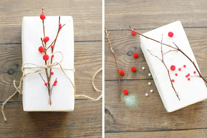 Easy gift wrap with twigs and pom poms