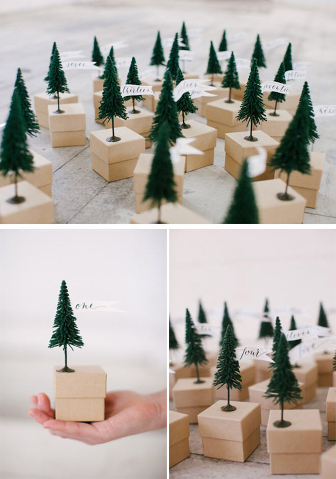 Attaching little Christmas trees to boxes is a simple way to create a beautiful advent calendar you will be proud to display
