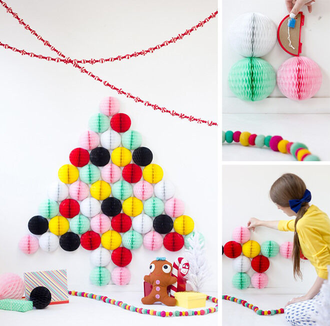 Easy DIY Honeycomb ball alternative Christmas Tree