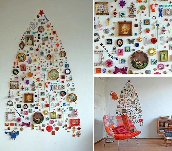 A Christmas tree made from bits and bobs around the house!