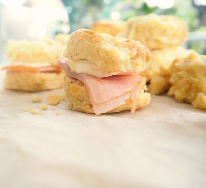 Scones can be frozen too! Simply defrost and fill with ham and cheese in the morning.