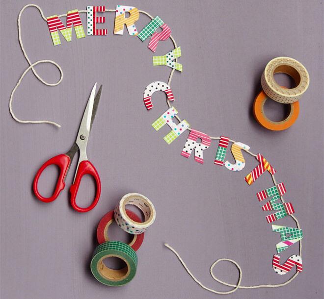 Easy DIY Washi Tape Christmas Garland