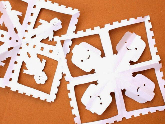 Easy DIY Lego Paper Snowflakes
