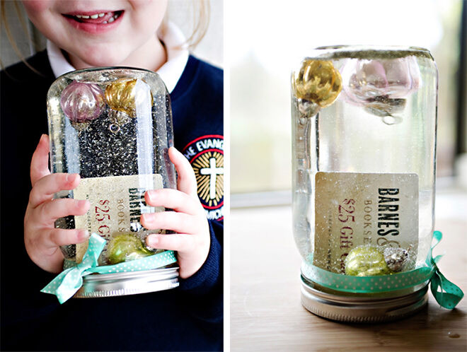 Easy DIY Snowglobe with gift card inside for end of year teachers gift