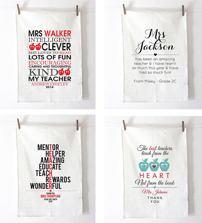 Personalised Tea Towels for end of year Teacher gifts
