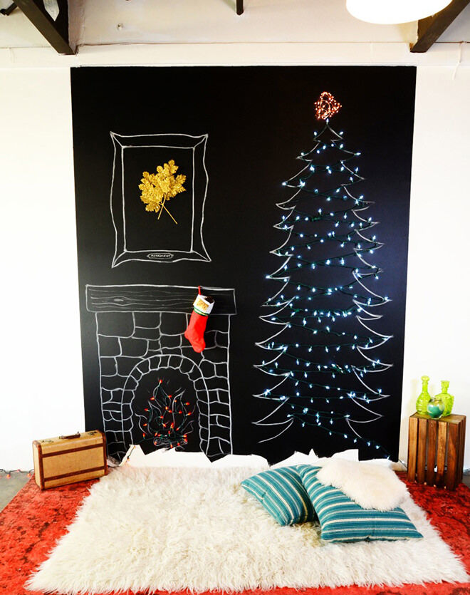 A chalkboard tree makes a fun and modern alternative to the traditional Christmas tree