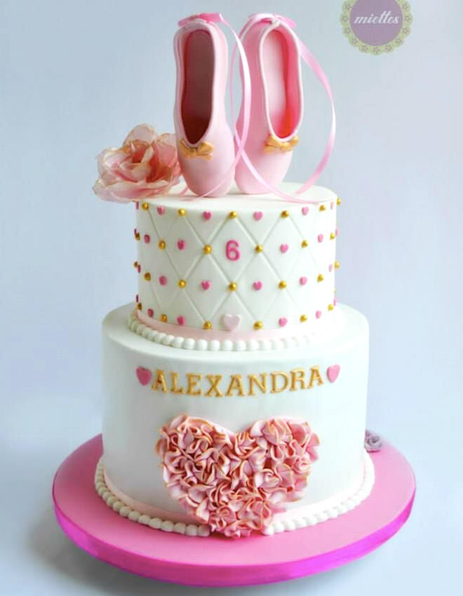 Ballerina birthday cake with pink and gold detailing