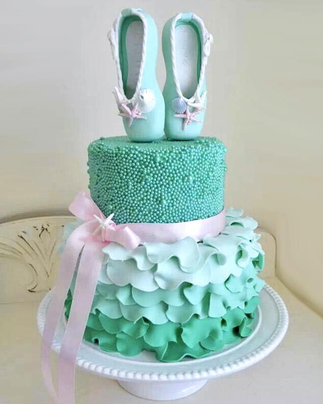 Aqua ballerina cake with sugar pearls and ruffle detailing