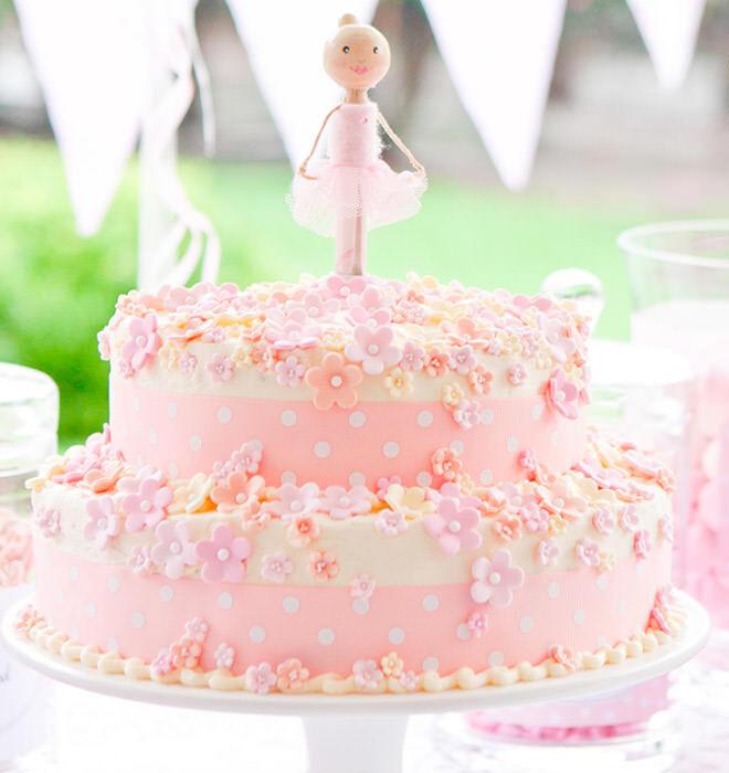 Ballerina birthday cake with sugar flowers