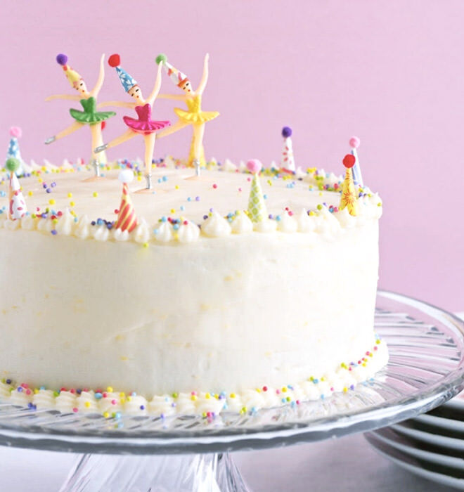 One bowl yellow cake with ballerina toppers