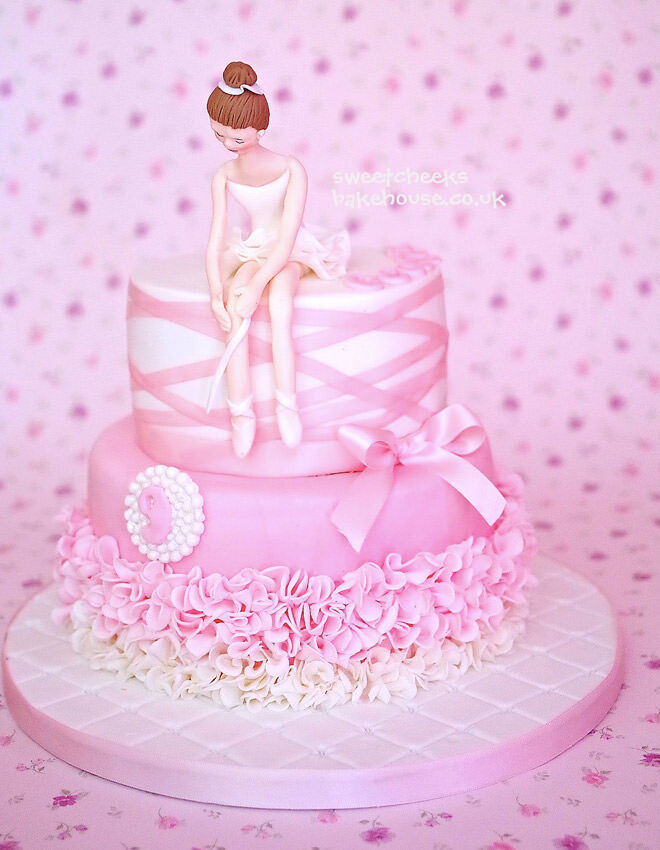 Elegant ballerina birthday cake with ribbon