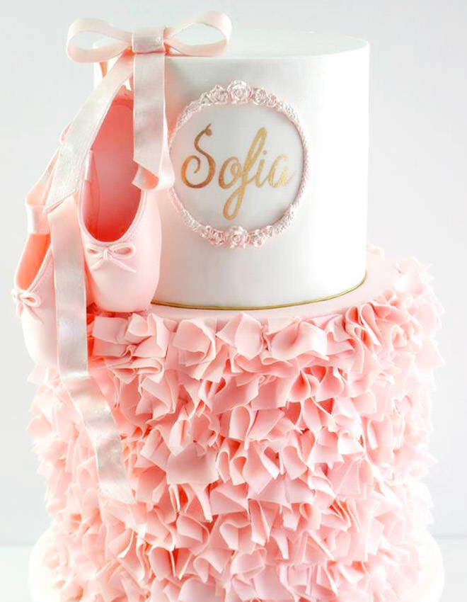 Personalised ballet cake with soft pink ruffles