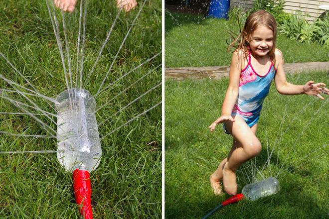 DIY sprinkler using a water bottle