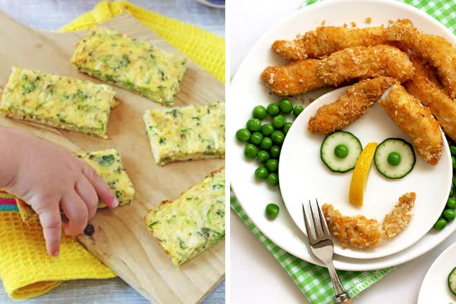 Finger food recipes, broccoli and cheddar frittata, fish fingers