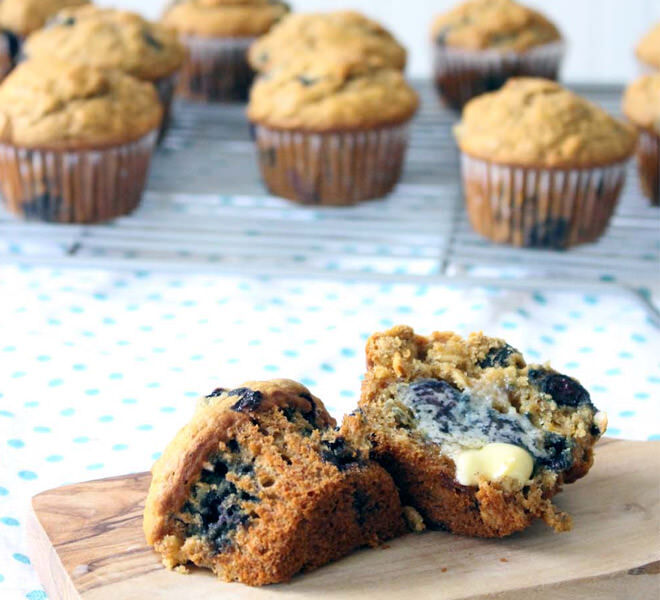 Freezable Wholegrain Blueberry Muffins - Perfect for the kiddies lunch box!