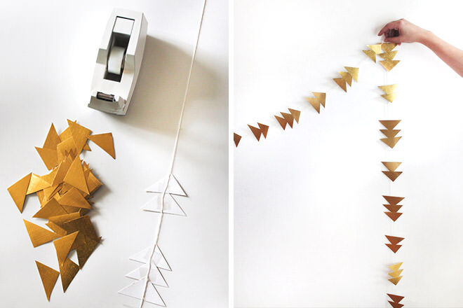Give your Christmas decorating some edge with this gold angled garland