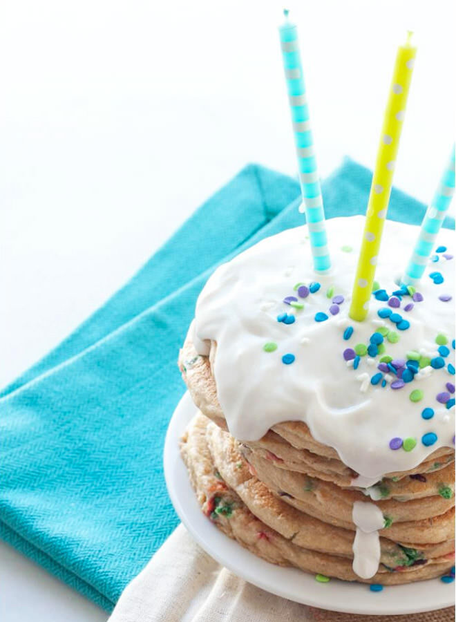 Healthy birthday cake pancake stack
