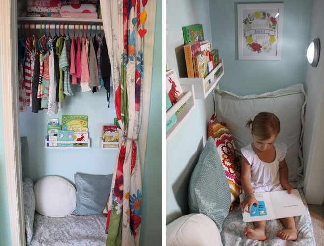 Turn your kiddies closet into a cute reading nook