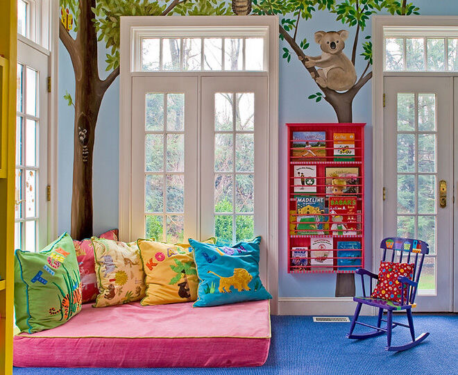 Colourful and bright reading nook idea