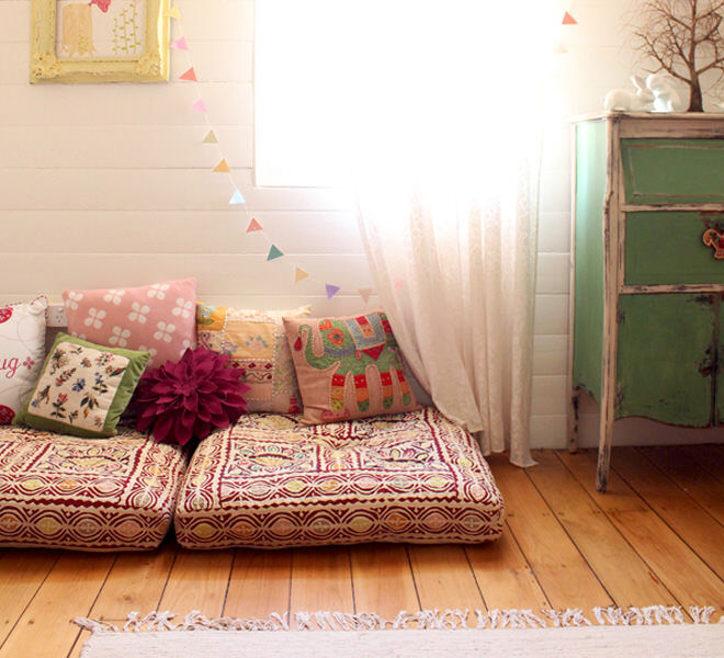 Giant floor cushions are a simple yet effective way to make a cosy reading nook for the kids