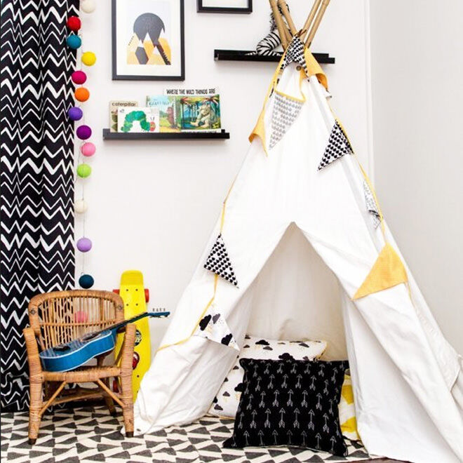 Teepee reading nook for kids