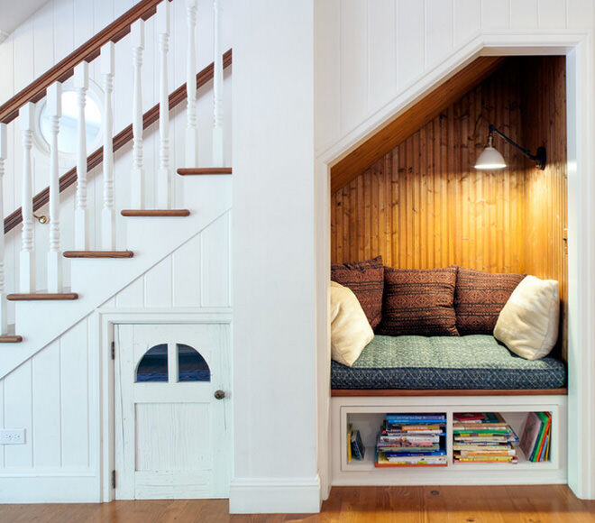 Reading nook for children under the stairs