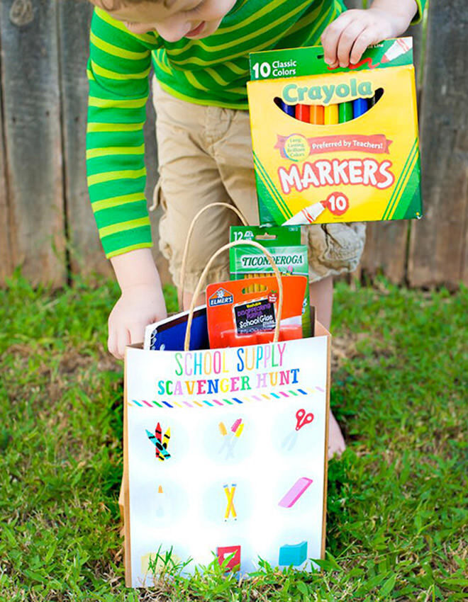 Hold a stationery supplies scavenger hunt - ways to celebrate going back to school.