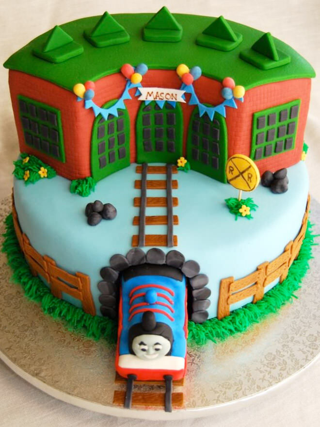 train tunnel cake