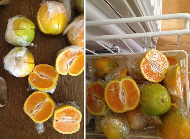Cut oranges into quarters, wrap in cling wrap and freeze ahead of time for school lunches